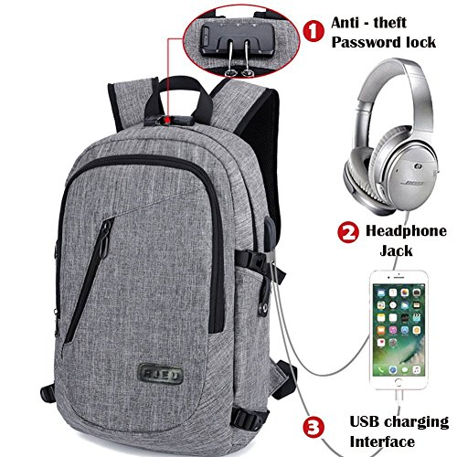be365d3810 Anti theft Travel Laptop Backpack with USB Charging Port  Water Resistant  Colleg