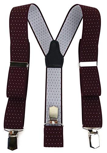 TigerTie Unisex Hosenträger in Y-Form mit 3 extra starken Clips - Farbe in weinrot silber gepunktet - hochwertige Verarbeitung - Breite 35 mm