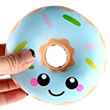 Kinlene® Donut Squishy, 11CM Cute Emiji Doughnut Squishies Jumbo Squeeze Scented Charm Simulation Stress Relief Kid Toy Gift for Girls,Boys and Adult(Blue)