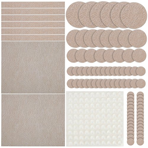 Furniture Pads, Ankier 154 Pieces Premium Self Adhesive Felt Pads for Furniture with 64 clear rubber pads for Your Hardwood & Laminate Flooring (Beige)