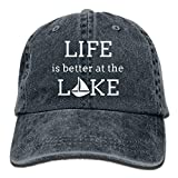 Xukmefat Men and Women Life is Better at The Lake 1-1 Vintage Jeans Baseball Cap PK537