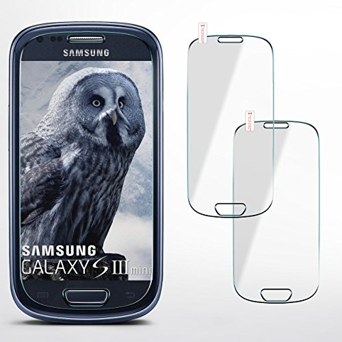 2x OneFlow 9H Panzerfolie für Samsung Galaxy S3 Mini Panzerglas Display Glasfolie [Tempered Glass] Screen protector Glas Displayschutz-Folie für Samsung Galaxy S3 Mini S III Schutzfolie - Display gewölbt, Folie bewusst kleiner (Glas Screen Protector Mini S3)