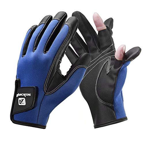 TAIPPAN Winter Outdoor Handschuhe, Neopren Angelhandschuhe 2 Schnittfinger Flexible Handschuhe rutschfeste Outdoor Handschuhe zum Angeln Motorradfahren Laufen Schießen Radfahren Wandern Skifahren