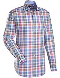 JACQUES BRITT Herren Hemd Custom Fit Brown Label 1/1-Arm Bügelleicht Karo City-Hemd Hai-Kragen Manschette weitenverstellbar