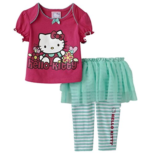Hello Kitty Kinder Mädchen Sommer Outfit T-Shirt mit Tutu Rock Leggings Hose (62-68)