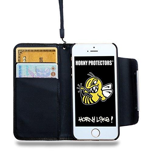 iPhone 5 und iPhone 5s Hülle Kunstlederhülle Flipcase blau von HORNY PROTECTORS® booklet Blau