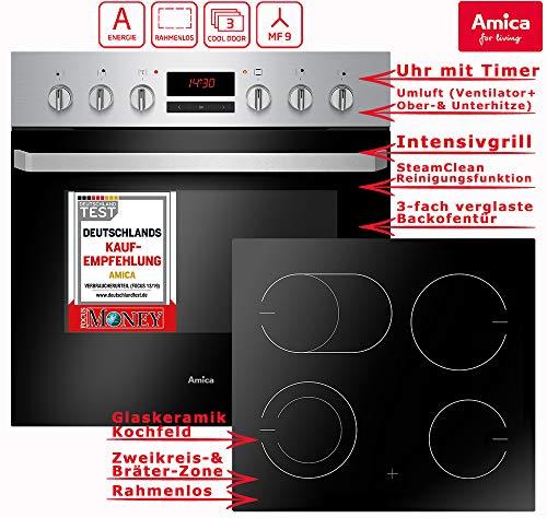 Amica EHC 933 015 E Einbauherd Set | 9-fach Multifunktion Backofen mit Grill und Umluft | Rahmenloses Glaskeramik Kochfeld mit Zweikreis und Bräterzone | Timer | Steam Clean