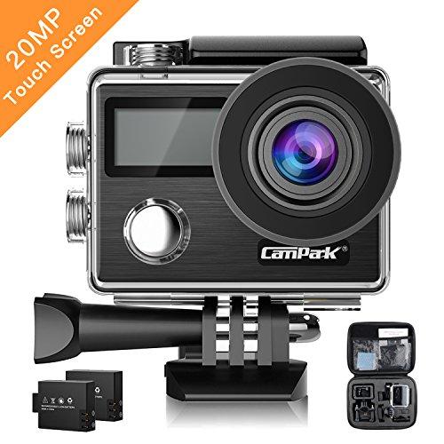 Campark X20 Action Kamera 4K Sports cam 20MP Ultra Full HD Wasserdicht Helmkamera mit SONY Sensor, Dual LCD Touchscreen, Fernbedienung, EIS, 2 1050mAh Akkus und kostenlose Accessoires