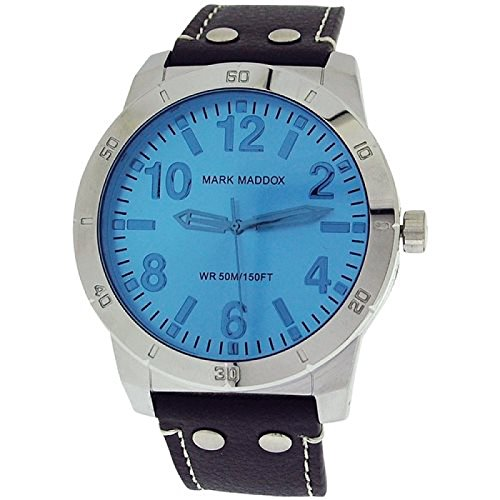 Mark Maddox Gents Analogue Blue Dial & Black PU Strap Watch HC3007-35