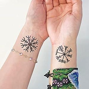 Viking - Aegishjalmur - Vegvisir - 2 Temporäres Tattoo