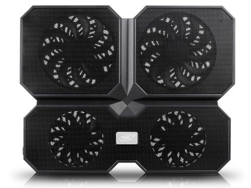 DeepCool  Multi Core X6 - Base de Refrigeración para Ordenador Portátil, Refrigerador Portátil 2 Ángulo de Visión con 4 Ventiladores Silenciosos y 2 Puertos USB