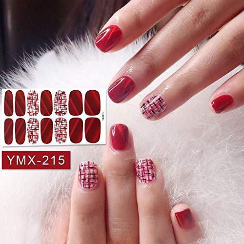 HDDWZH Nagelaufkleber,Beauty Nails Sticker Plaid Gestreifter Farbverlauf Rot Nail Wraps Cognac Nail Art Voller Aufkleber Klebstoff Tipps Maniküre -