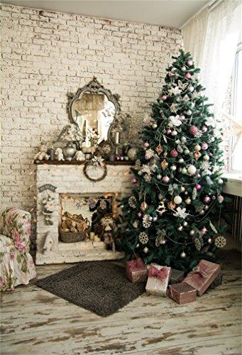 Hintergrund Weihnachten Baum Kamin Geschenke Schachtel Teppich Garland Brick Wall Holzboden Innere Fotografie Hintergrund Fotoshooting Portrait Party Kinder Hochzeit Fotostudio ()