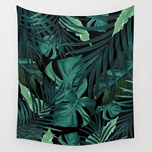 TRUIOKO Tropical Jungle Night Leaves Pattern 1 Tropical Decor Art society6Wall Hanging for Bedroom Living Room Dorm Wall Tapisserie Decor,80