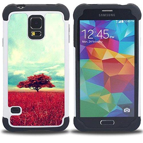 SAMSUNG Galaxy S5 V / i9600 / SM-G900 - 3 in 1 Colorful Heavy Duty Stampato in PC Soft silicone nero della copertura gel della cassa Jacket (Africa Savannah Natura Albero Campo)