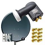 PremiumX Digital SAT Anlage 100 cm ALU Schüssel Spiegel Antenne Antrazith Quad LNB 0,1dB für 4 Teilnehmer HDTV 4K + 8 F-Stecker 7mm vergoldet