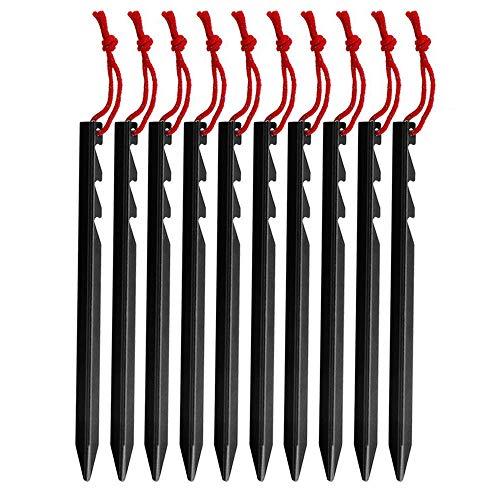 Bocotoer Zeltheringe/Nägel für Zelte, Ultraleicht, strapazierfähig, Aluminiumlegierung, Schwarz, 10 Stück -