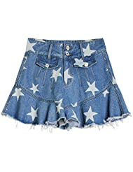 Pantalons Courts Jeans Pour Femme Taille Haute Élasticité Écharpe Étoilée Feuille De Lotus Jambe Large Un Pantalon Jupe Fishtail