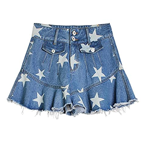 Byjia Women'S Shorts Jeans High Waist Stretch Denim Star Printing Lotus Leaf Wide Leg A Fishtail Skirt Pants . Picture Color . 32