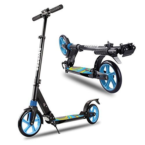 Preisvergleich Produktbild BAYTTER® faltbar Kinderscooter Cityroller Roller aus Aluminium für Kinder ab 8 Jahre und Erwachsene, Lenker in der Höhe verstellbar, Scooter big wheel mit Sicherungsklemme