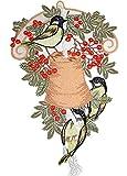 Fensterbild 33x20 cm + Saugnapf PLAUENER SPITZE® Weihnachten Winter MEISENGLOCKE Vögel Beeren Spitzenbild