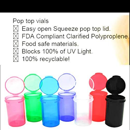 BIGSMOKESUPPLIES (100x 6DR 6DRAM-Kunststoff Pop Top Behälter Flasche Flakon–hält bis zu 1G Gramm–RX Etiketten enthalten (POPTOPS Squeeze Tubs Snap sicheren Container) (1g-container)