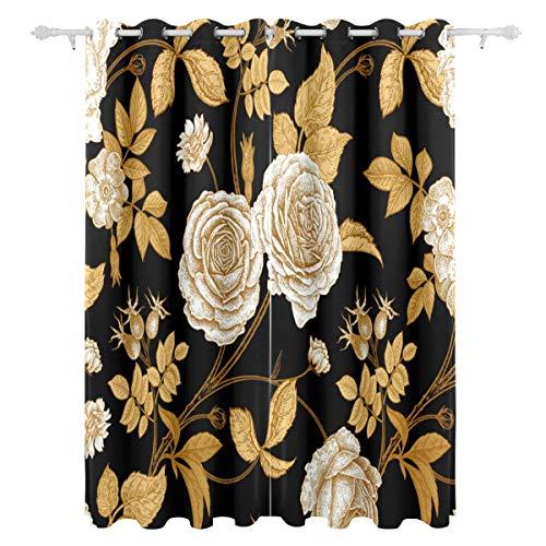Orediy 2 Panels Verdunkelungsvorhänge Vintage Gold Blumen Thermoisoliert Schlafzimmer Wohnzimmer Fenster Treatment Ösenvorhänge Home Decor 140 x 213 cm pro Paneel Gold Panel
