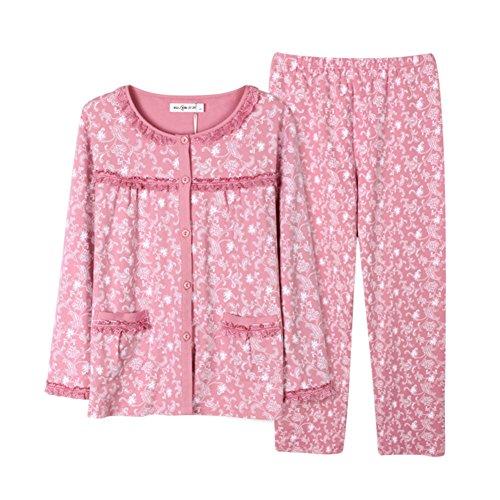 Pigiama Ladies in primavera/ servizio casa confortevole/Primavera e autunno lungo manica pigiama in cotone D