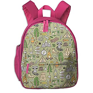 Childrens Backpack for Girls,Outdoors Camping Woodland Doodle with Campfire, Raccoon, Mountains, Trees, Logs On Green_87,for Children's Schools Oxford Cloth (Pink)