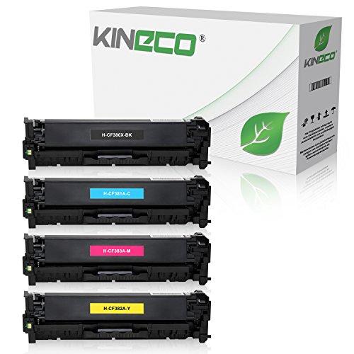 Kineco 4 Toner kompatibel zu HP CF380X CF381A CF382A CF383A Laserjet Pro MFP M470 Series M476 DN DW NW - Schwarz 4.400 Seiten, Color je 2.700 Seiten -