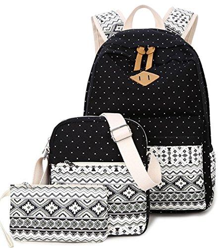 Imagen de yefer  escolares juveniles para chicas lona mujer tela casual bolsa escolar niña ordenadores portátiles de 14 pulgadas +bolso de bandolera+caja de lápices negro set