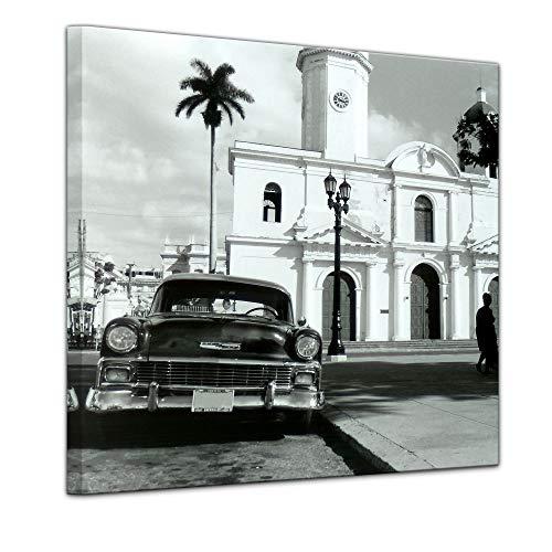 Wandbild - Oldtimer - Kuba - Bild auf Leinwand - 60 x 60 cm - Leinwandbilder - Bilder als Leinwanddruck - Motorisiert - Karibik - Straßenkreuzer auf Kuba