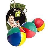 Palle da giocoleria  Approvato CE  il set complete da giocoliere composto da 3 palle con video tutorial online in sacco di juta beige - a cura di Mister M (Verde, 3 Palle)