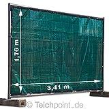 Bauzaungewebe 1,76 x 3,41m, grün mit Ösen, Bauzaunplane für Sichtschutz und Windschutz am Bauzaun