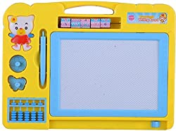 Gifts Online Magic Drawing Slate + Black Slate Chalk Board, 2 in 1 Educational board (Yellow)
