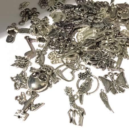 Juanya 100 unidades DIY accesorios mezclados de plata tibetana estilos colgantes del...