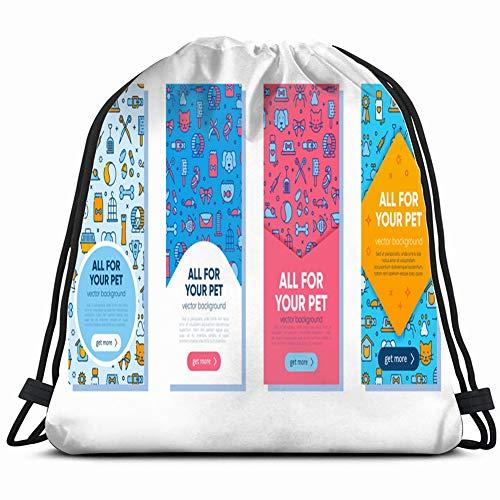 set colorful banner template pet shop animals wildlife animal business finance Drawstring Backpack Gym Sack Lightweight Bag Water Resistant Gym Backpack for Women&Men for Sports,Travelling,Hiking,Camp -