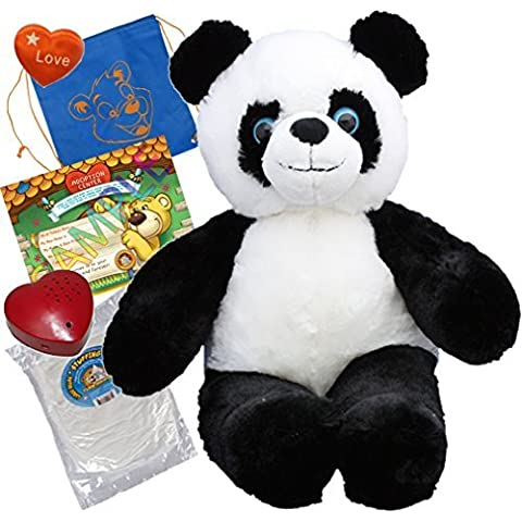Panda Bear (16 Plush) w/Heart shaped Voice recorder (No-Sew DIY Build-a-Plush Kit) by Teddy Mountain - Premium Fiberfill