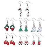 QGEM Damen 7 paare/set Schmuckset Weihnachtsschmuck Ohrringe silber-Anhänger Pendant Ohrstecker als Weihnachtsgeschenke