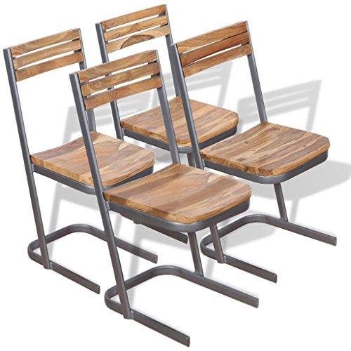 Lingjiushopping chaises de salle à manger 4 pièces en bois de teck massif couleur : marron matériau : teck solide + Fer