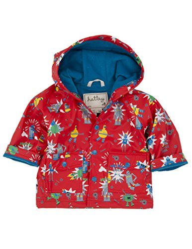 Hatley Infant Raincoat - Robots - Manteau imperméable - Bébé garçon, Rouge, 18-24 mois