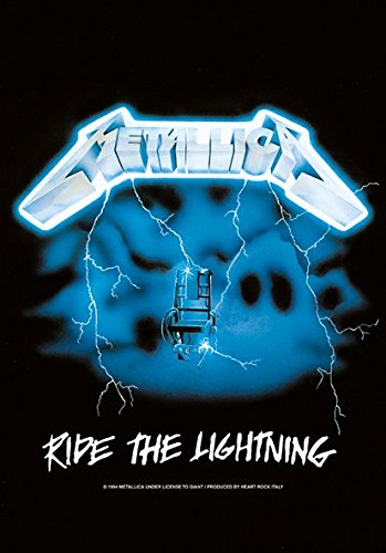 Heart Rock Licensed Bandiera Metallica - Ride The Lightning, Tessuto, Multicolore, 110X75X0,1 cm