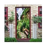 LXHLXN Grüne Wand 3D Wandaufkleber Bunte Grüne Pflanze Dekoration Wohnzimmer Hintergrund Berg Landschaft Die Tür Aufkleber 77x200 cm