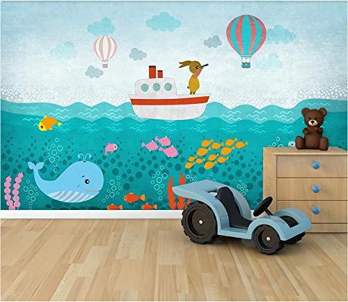 3D Wallpaper Wandaufkleber Gestrickter Stoff Nettes Häschen nautische Log Kinderzimmer Hintergrund Wand Dekorative Gemälde 300x210cm
