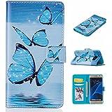 Guran® PU Housse En Cuir pour Samsung Galaxy S7 Edge (5,5 Pouces) Smartphone Flip Cover Étui Debout Fonction et Fente Porte-cartes Cas-blue butterfly