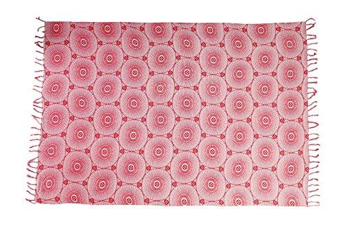 Sarong Pareo Wickelrock Strandtuch Tuch Schal Wickelkleid Strandkleid Knalliges Pinkes Muster + Schnalle