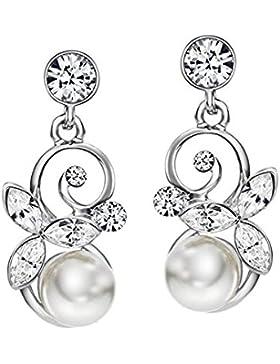 Ohrringe mit Swarovski® Elements Strass und Perlen weiß elegant von Neoglory Jewellery