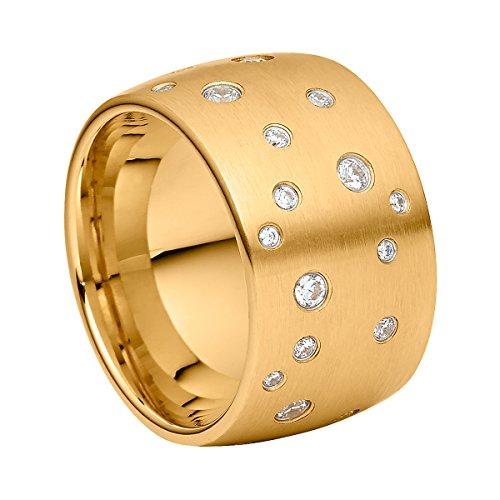 Heideman Ring Damen Astrum aus Edelstahl Gold farbend matt Damenring für Frauen mit Swarovski Stein Zirkonia Weiss im Brillant Schliff 1,5-3mm