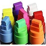 Rotuladores, WER Rotuladores de tiza líquida Punta de 15mm - 8 colores [Estuche de 8 marcadores]