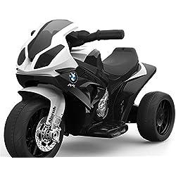 RIRICAR BMW S 1000 RR Tricycle électrique pour Enfants, Moto à Piles, 3 Roues, sous Licence, 1x Moteur, Batterie 6V, Noir
